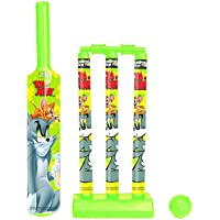 Gencliq Tom and Jerry Mini Cricket Set with 1 Plastic Bat, Ball, 3 Wickets, Base and Bail (Multicolour)
