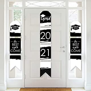 product image for Big Dot of Happiness Black and White Grad - Best is Yet to Come - Hanging Vertical Paper Door Banners - 2021 Black and White Graduation Party Wall Decoration Kit - Indoor Door Decor