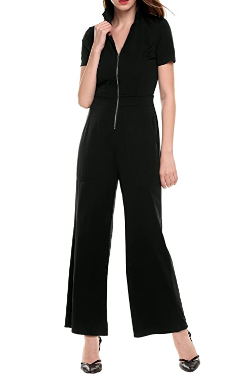 Women's Casual V-Neck Short Sleeve Solid Zip Slim Jumpsuit with Pockets