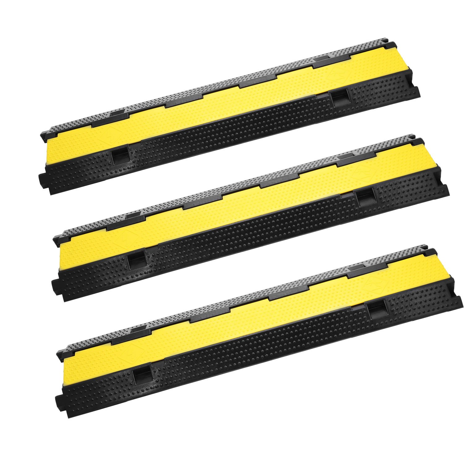 OrangeA 3 Pack Channel Rubber Cable Protector 2 Channel Speed Bump 11000lbs Capacity Rubber Speed Bump Cable Protector Ramp