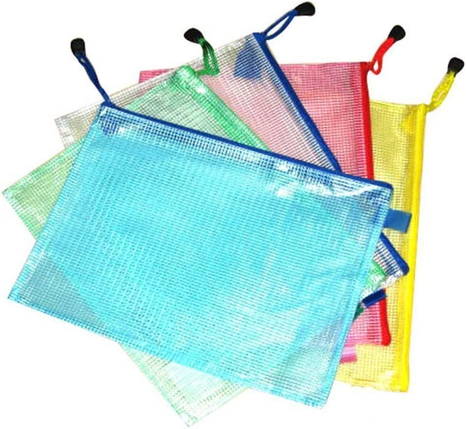 15*19CM Vikenner 10 Pcs Zipper File Bag Mesh Document Bag Random Color Made of PVC Material Can Store Documents and Files in Different Size B6