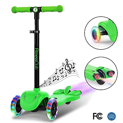 Fitnessclub Kick Scooter for Kids, Multi Foundation Kids Scooters with LED Light Up Wheels, Height Adjustable Scooter for Children, Rocket Sprayer +Sound Effect,Colorful Water Dynamic steam Mist: Toys & Games