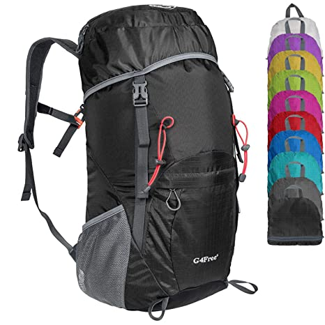 4df9e6c39b846c G4Free Large 40L Lightweight Water Resistant Travel Backpack/Foldable &  Packable Hiking Daypack(Black