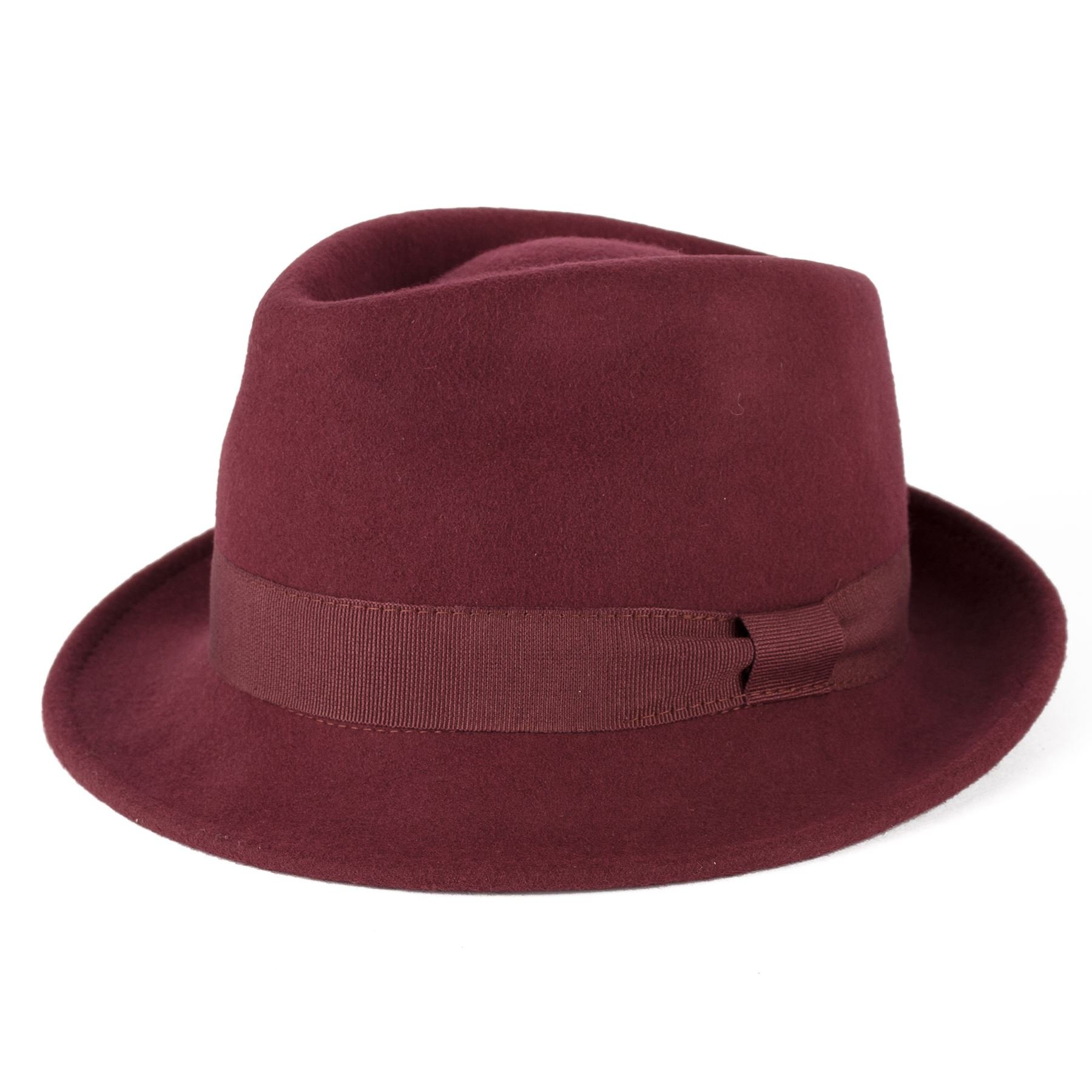 Unisex Made In Italy Hand Made Fine Felt Trilby Hat With Grosgrain Bow Style Band - Maroon/Red Wine (55/S)