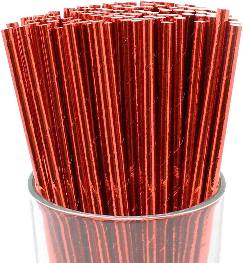 Just Artifacts 100pcs Premium Biodegradable Solid Paper Straws (Solid, Metallic Red)