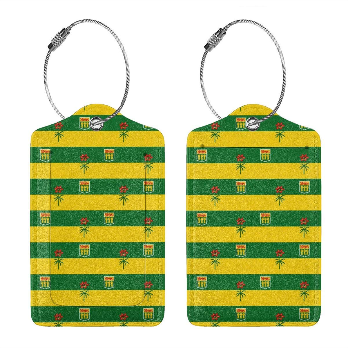 Saskatchewan Canada Flag Leather Luggage Tags Personalized Flexible Custom Travel Tags With Privacy Flap