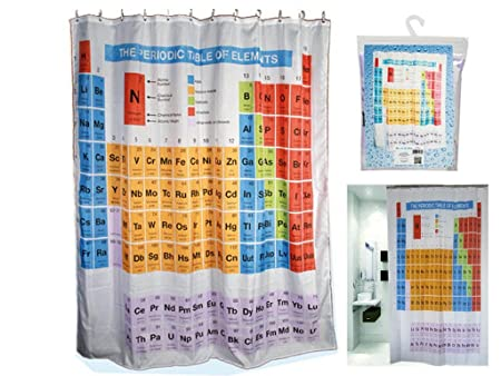 Periodic Table Shower Curtain Elements Chemistry Polyester With Hooks Rings  Bathroom Home