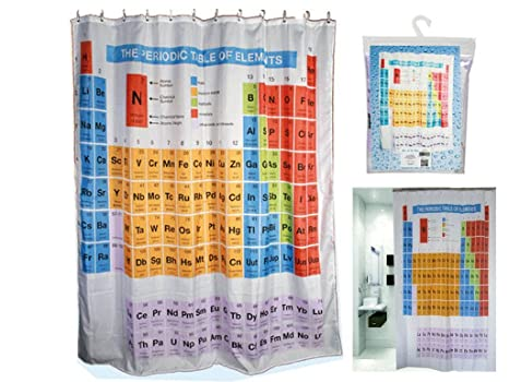 Periodic Table Shower Curtain Elements Chemistry Polyester With Hooks Rings Bathroom Home Amazoncouk Kitchen