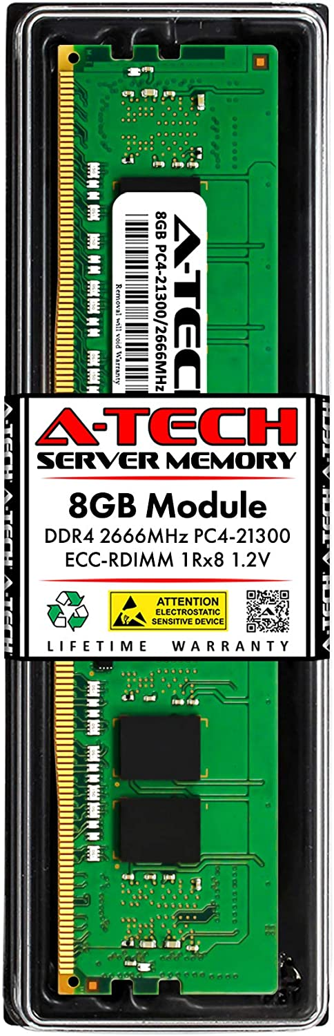 A-Tech 8GB Memory RAM for Dell PowerEdge T440 - DDR4 2666MHz PC4-21300 ECC Registered RDIMM 1Rx8 1.2V - Single Server Upgrade Module (Replacement for A9781927)