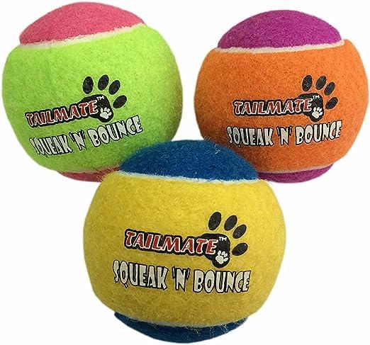 Squeak TAILMATE Pelota Juguete del perro 3-pack varios colores tren perro pelota de tenis: Amazon.es: Productos para mascotas