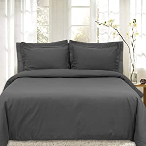 Duvet Cover 5 Piece Includes 2 Shams & 2 Pillowcases 1800 Supreme Soft Hypoallergenic Solid Color Wrinkle and Fade Resistant Set, Gray