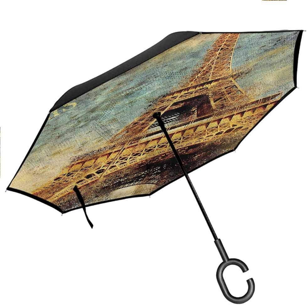"B0841VZ5H4 Kgblfd Eiffel Tower Reverse Inverted Inside Out Umbrella, Cityscape of Paris Double Layer Reverse Rain&Wind, 42.5""x31.5""Inch 71UMIx-2B9pL"