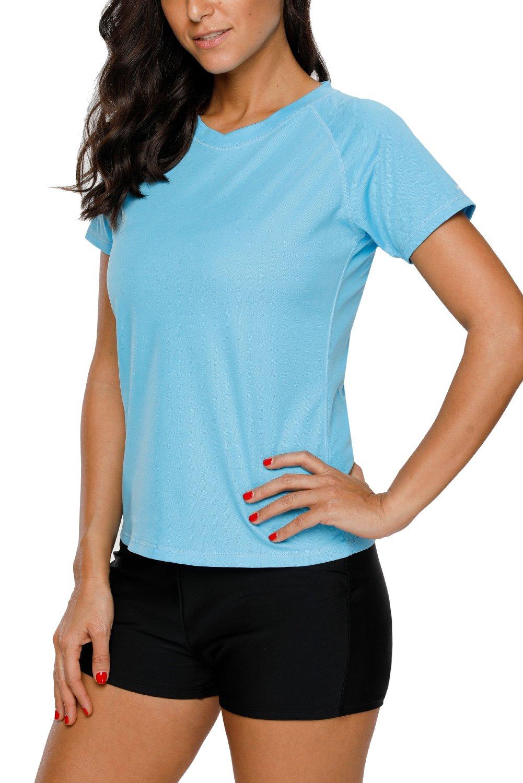 Vegatos Womens Short Sleeve Swim Shirt UV Protection Workout Shirts Athletic Top by Vegatos (Image #4)