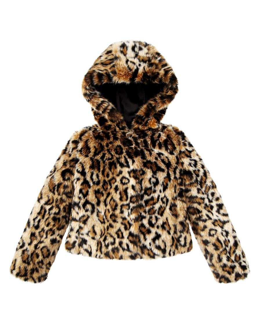 Juicy Couture Girls Leopard Faux Fur Swing Coat Jacket Animal (Large) by Juicy Couture (Image #1)