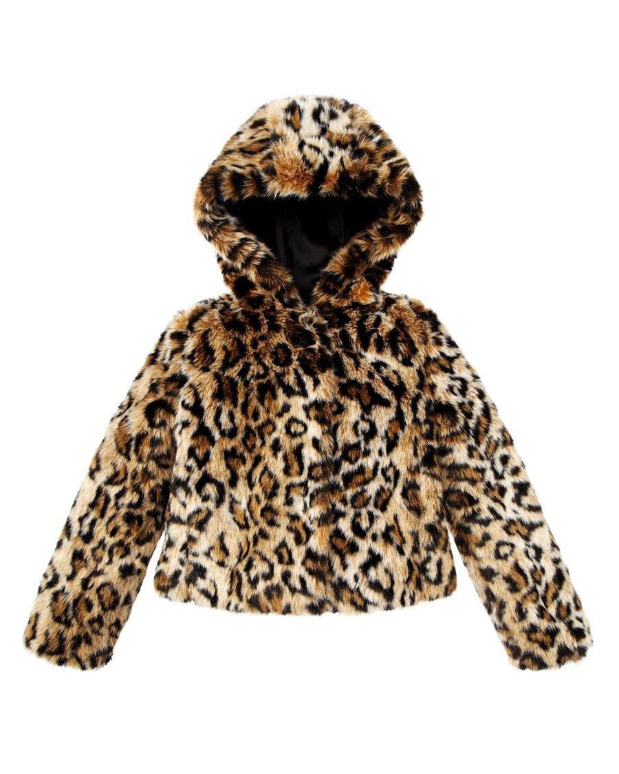 Juicy Couture Girls Leopard Faux Fur Swing Coat Jacket Animal (Large)