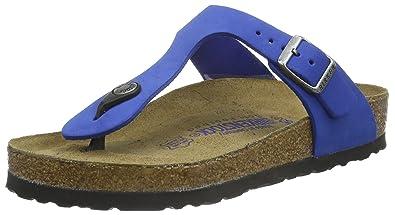 BIRKENSTOCK Classic Gizeh Leder Softfootbed, Unisex-Erwachsene Zehentrenner, Blau (Blue), 41 EU