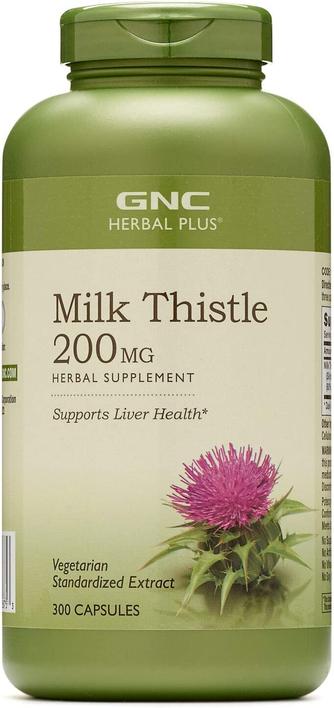 GNC Herbal Plus Milk Thistle 200mg, 300 Capsules, Supports Liver Health