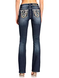 Miss Me Women's Dreamcatcher and Crescent Moon Embellished Bootcut Jeans