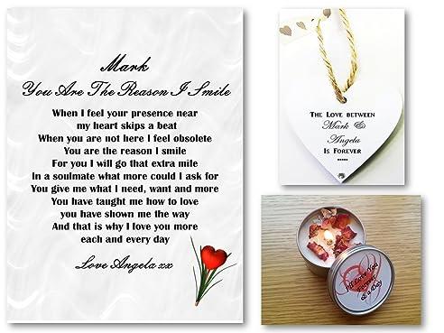 Personalisierbare Karte Mit Romantischem Gedicht U0026quot;I Smileu0026quot; (in  Englisch), A5