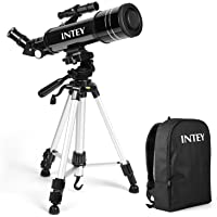 INTEY Super Clear Telescope 70mm Portable Refractor Astronomy Telescope for Kids & Beginners to See The Stars with Adjustable Aluminum Tripod & Rucksack