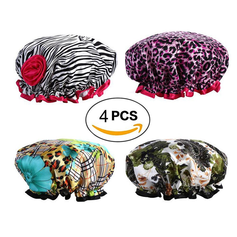 Shower Cap - CINRA 4 Pack Hair Shower Cap for Women Bath Caps Fabric Waterproof Shower Caps for Long Hair