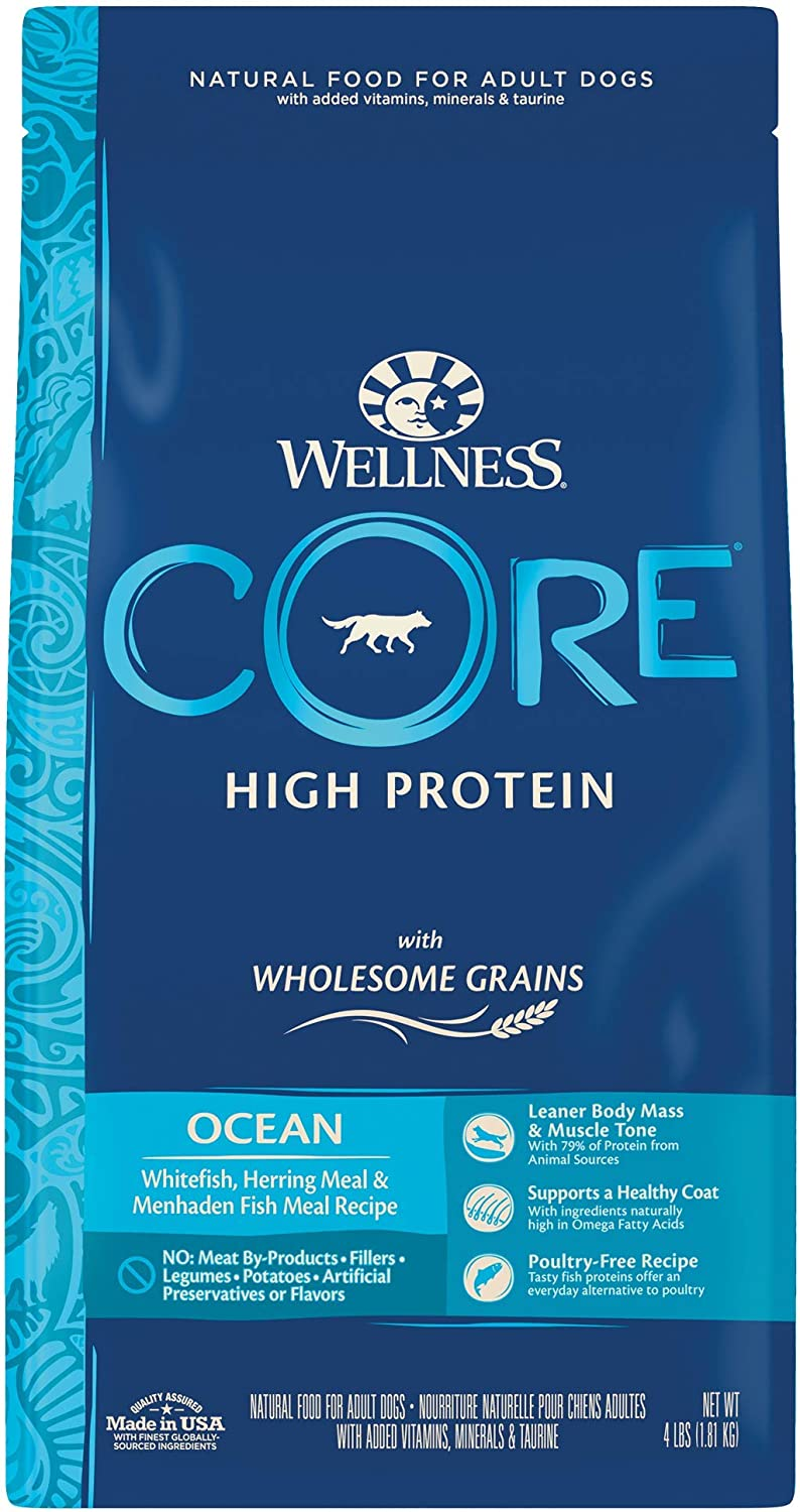 Wellness CORE Wholesome Grains Dry Dog Food, Ocean Recipe, 4 Pound Bag