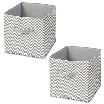 InterDesign Axis Cajas con Asas para Juguetes, Grandes Cajas organizadoras de Polipropileno en Zigzag, Juego de 2 cestas de Tela, Gris Topo y Crudo: ...