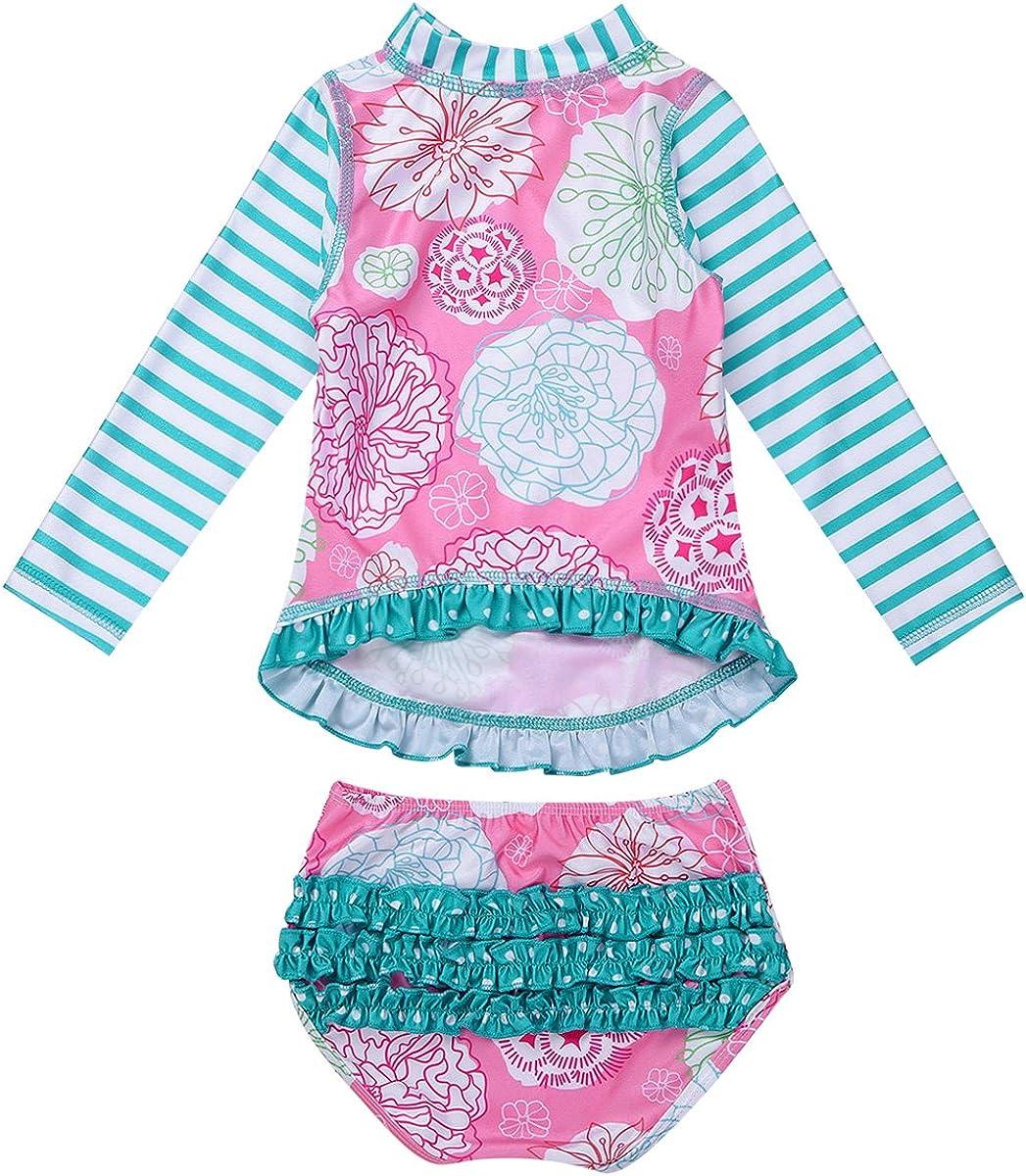 iiniim Baby Little Girls Two Piece Long Sleeve Rash Guard Swimsuit Shirt Top with Bottom Bathing Suit UPF 50+