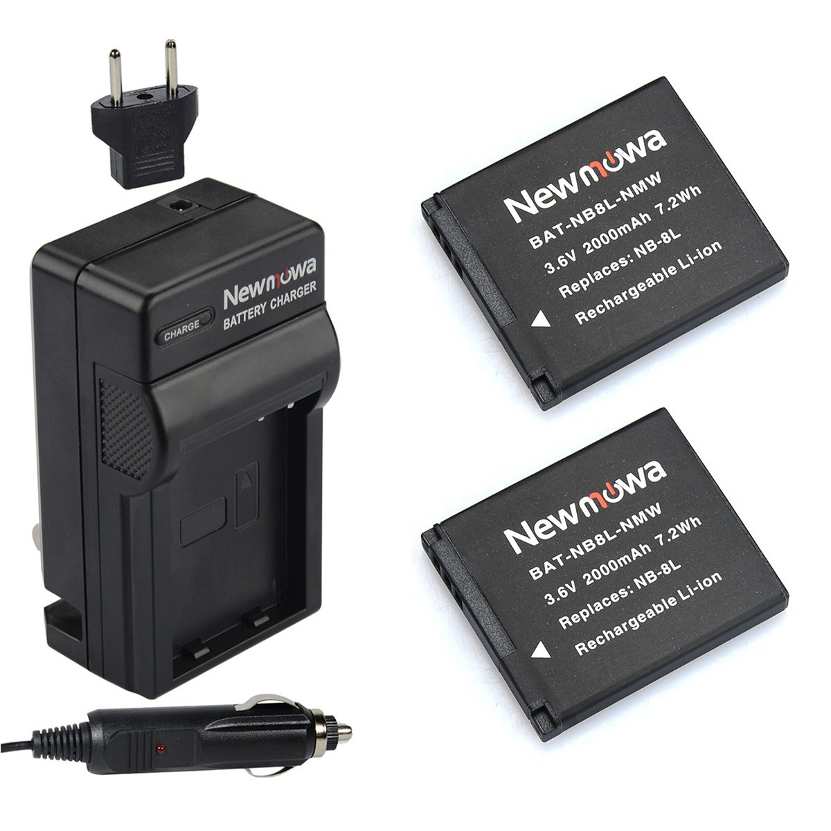 Newmowa NB-8L Replacement Battery (2-Pack) and Charger kit for Canon NB-8L,CB-2LA and Canon PowerShot A2200, A3000 is, A3100 is, A3200 is, A3300 is by Newmowa