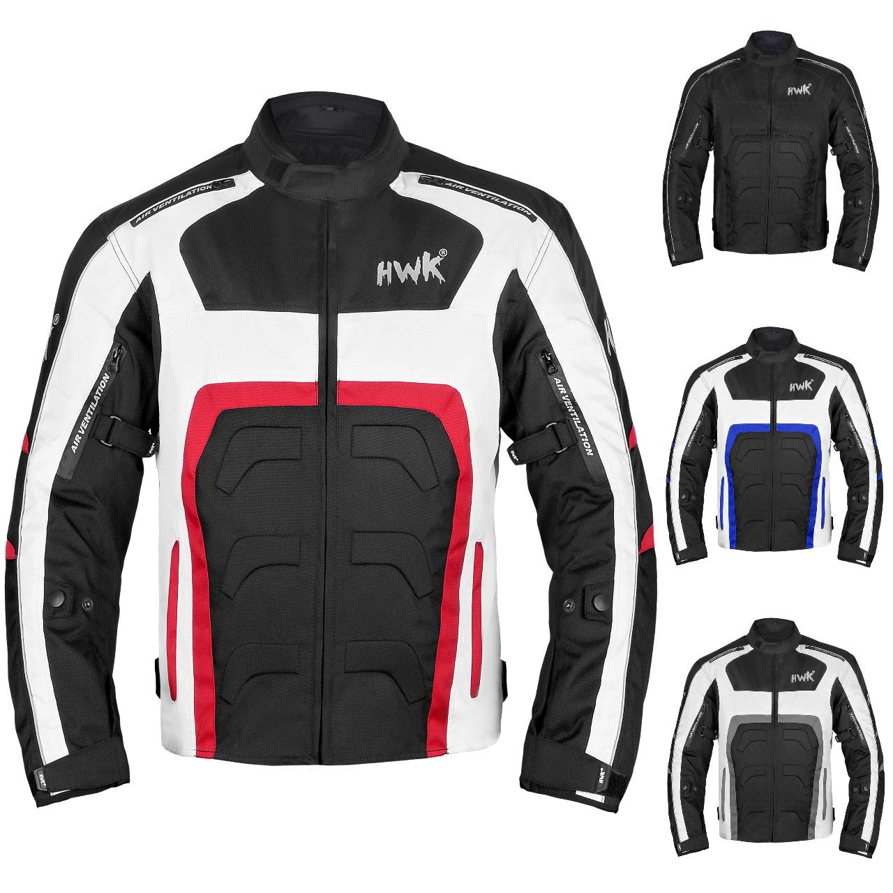 HWK Textile Motorcycle Jacket Motorbike Jacket Biker Riding Jacket Cordura Waterproof CE Armoured Breathable Reissa Membrane - Removable Thermal lining - 1 YEAR WARRANTY!! (Medium, Red)