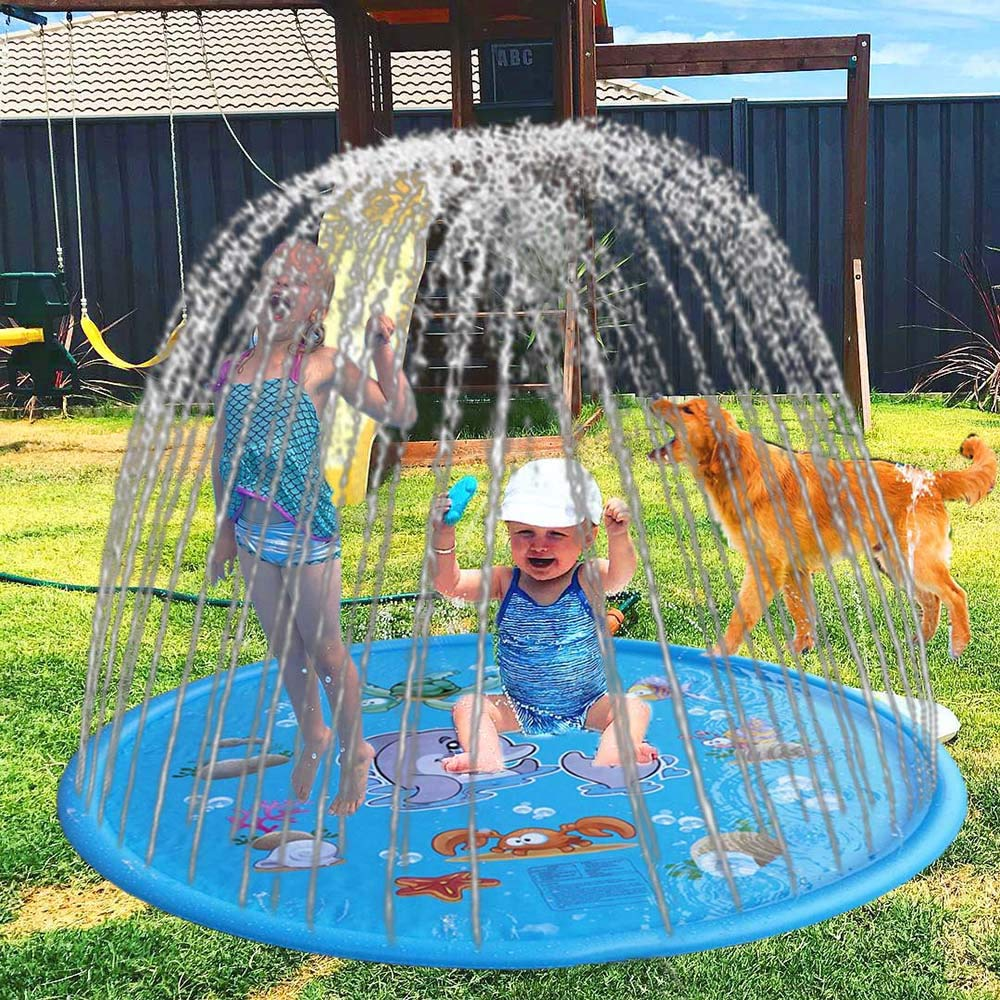 MeiGuiSha Outside Toys Sprinkler Mat Kids Water Toys Funny Water Toy Splash Mat Outdoor Sprinkler Pad for All Age Kids