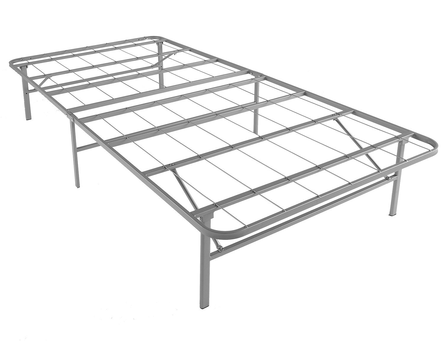 Mantua Premium Platform Bed Base in Silver, Fits Twin Mattress, Replaces Box Spring and Bed Frame, Room for Storage Underneath, No Tools Required