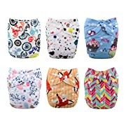 Babygoal Baby Cloth Diapers, Reusable Washable Pocket Nappy, 6pcs Diapers+ 6pcs Microfiber Inserts+One Wet Bag 6FG22