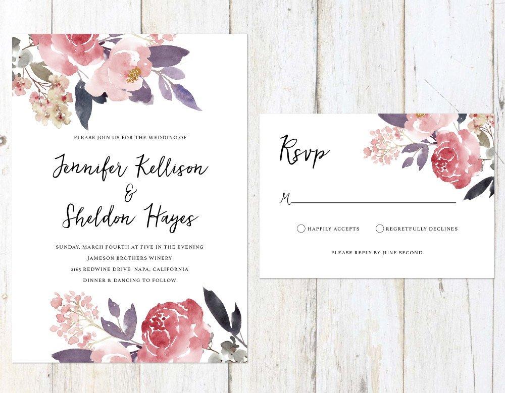 Blush and Lilac Wedding Invitation, Soft Flowers Wedding Invitation, Rustic Wedding Invitation