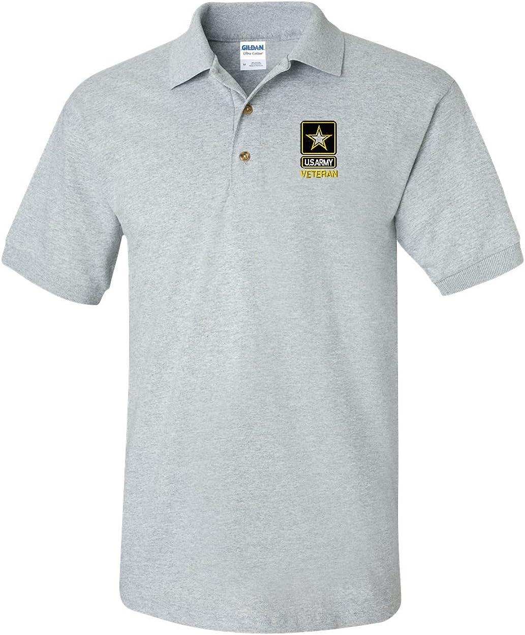 Army star design on black polo shirt Custom embroidered U.S