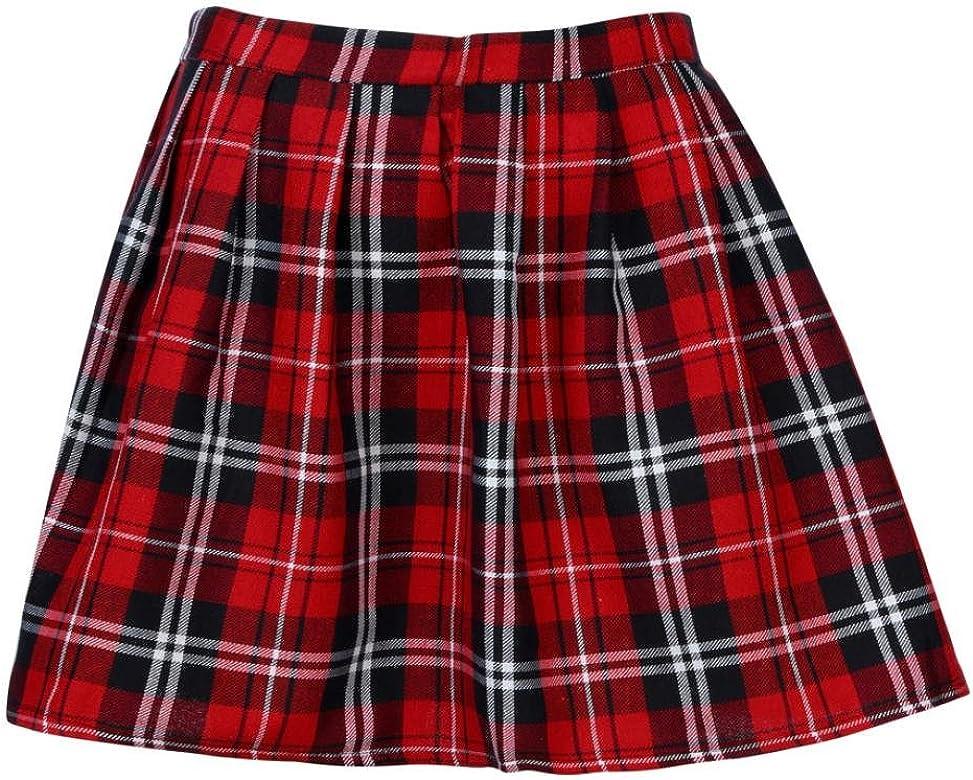 Lenfesh Mujer Escocesa Mini Faldas Kilt Escocesa Plisada de ...