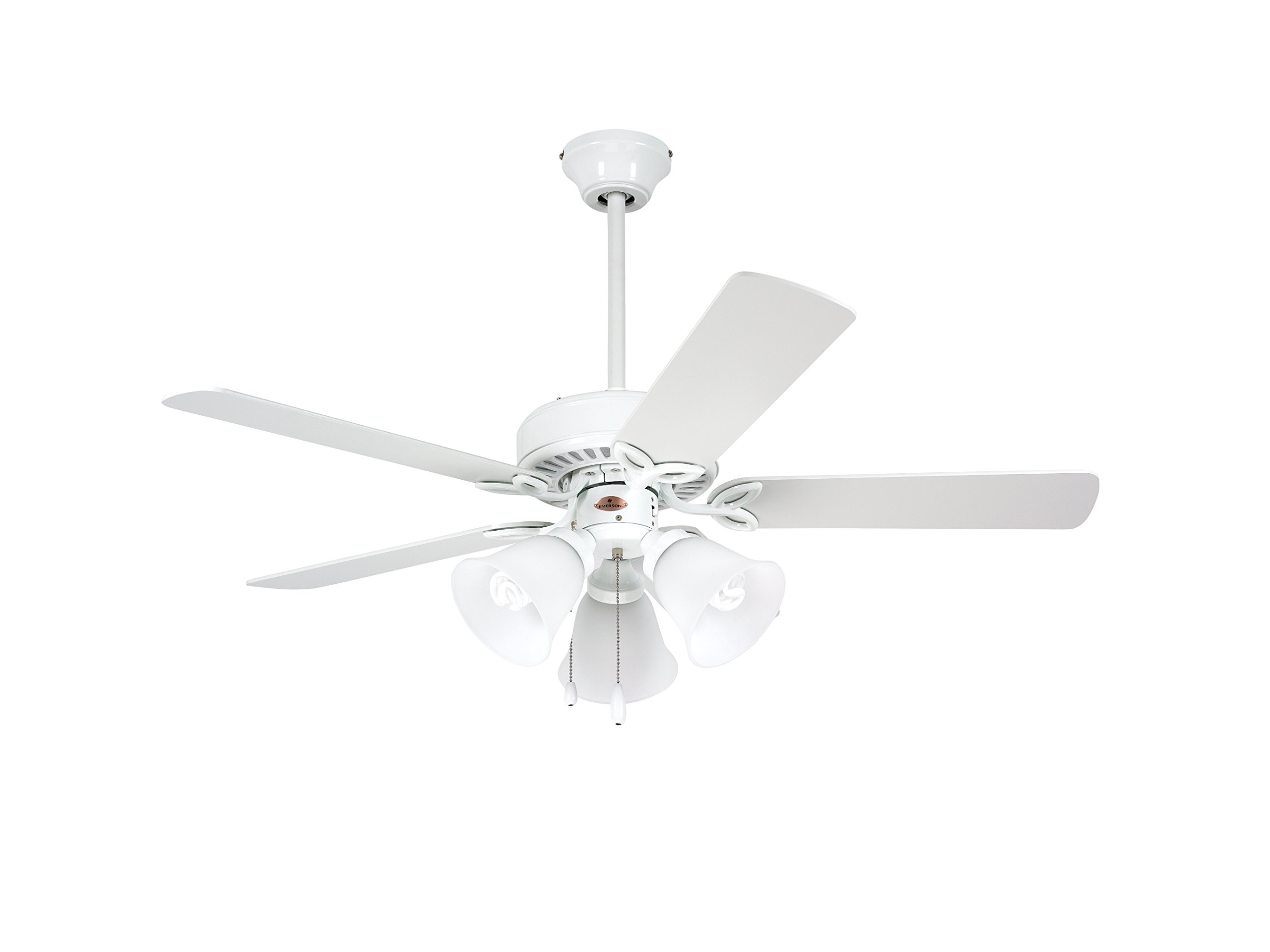 Emerson CF710WW Traditional Style 42-Inch 5-Blade Ceiling Fan, White with Frosted Globes