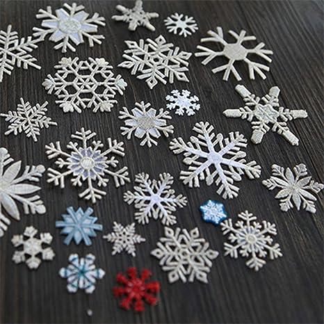 CraftbuddyUS 200 X Mixed Sparkly Fabric Christmas Snowflake Motifs Toppers Embellishments