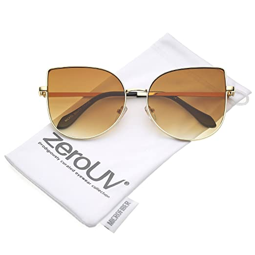 ae2f67f29bc zeroUV - Women s Oversize Metal Pink Mirror Flat Lens Cat Eye Sunglasses  58mm (Gold
