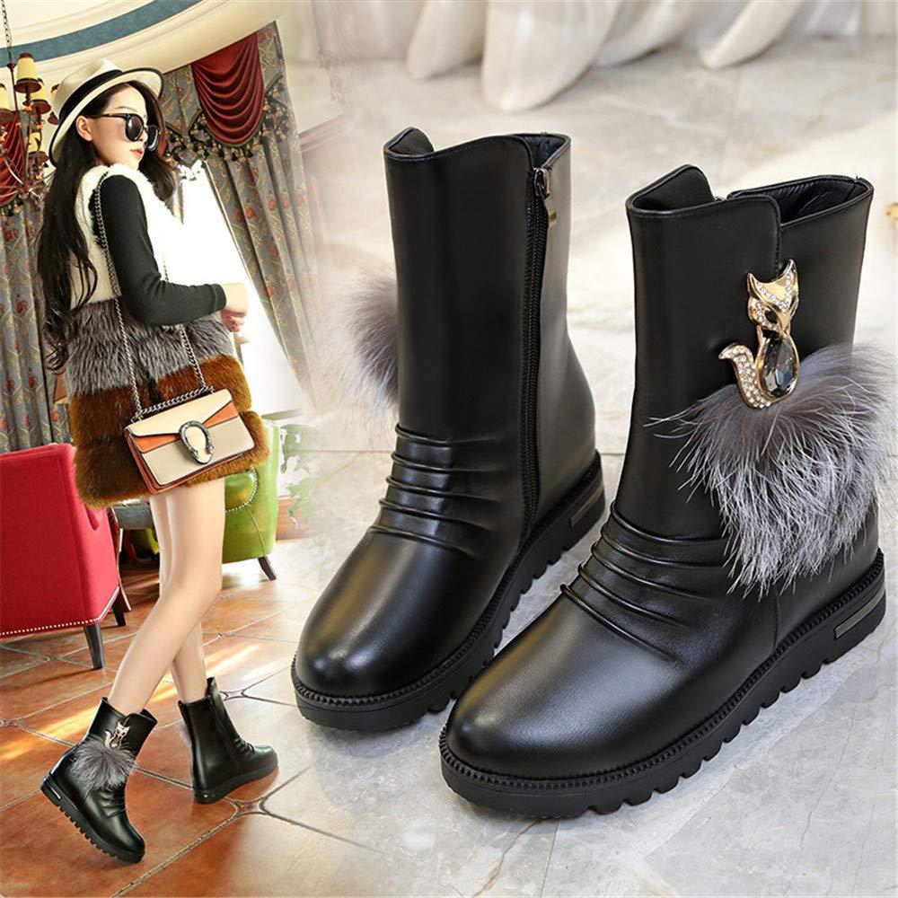 ZHRUI High Heels In den Stiefeln, Damenstiefeln, warmen warmen warmen und samtigen Baumwollstiefeln, Gezeitenmädchen (Farbe   35, Größe   Schwarz) ab54f0