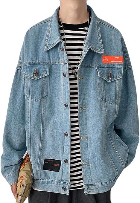PPEIREEデニムジャケット メンズ 春秋 長袖 ブルゾン カジュアル アウター ゆったり コート 防風 ジャンパー シンプル デニムコート ファッション gジャン