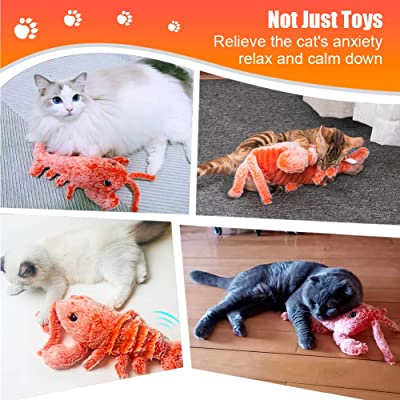 Electric Simulation Plush Lobster Interactive Cat Toy Catnip Toys Kitten Toys Flopping Lobster Toy Dancing Lobster Catnip Toys for Cat Exercise Lobster