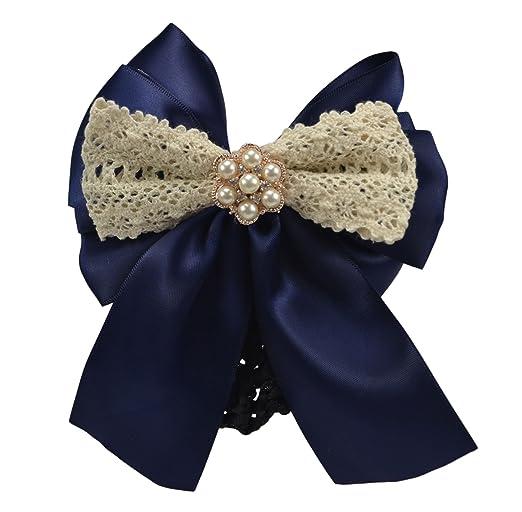 Edwardian Accessories 4.7 Women Bun Cover Net Snood Bowknot Decor Barrette Hair Clip TBC760 (Deep Blue) $10.99 AT vintagedancer.com