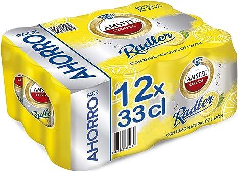 Amstel Radler Limón Cerveza - Pack de 12 Latas x 330 ml (Total ...