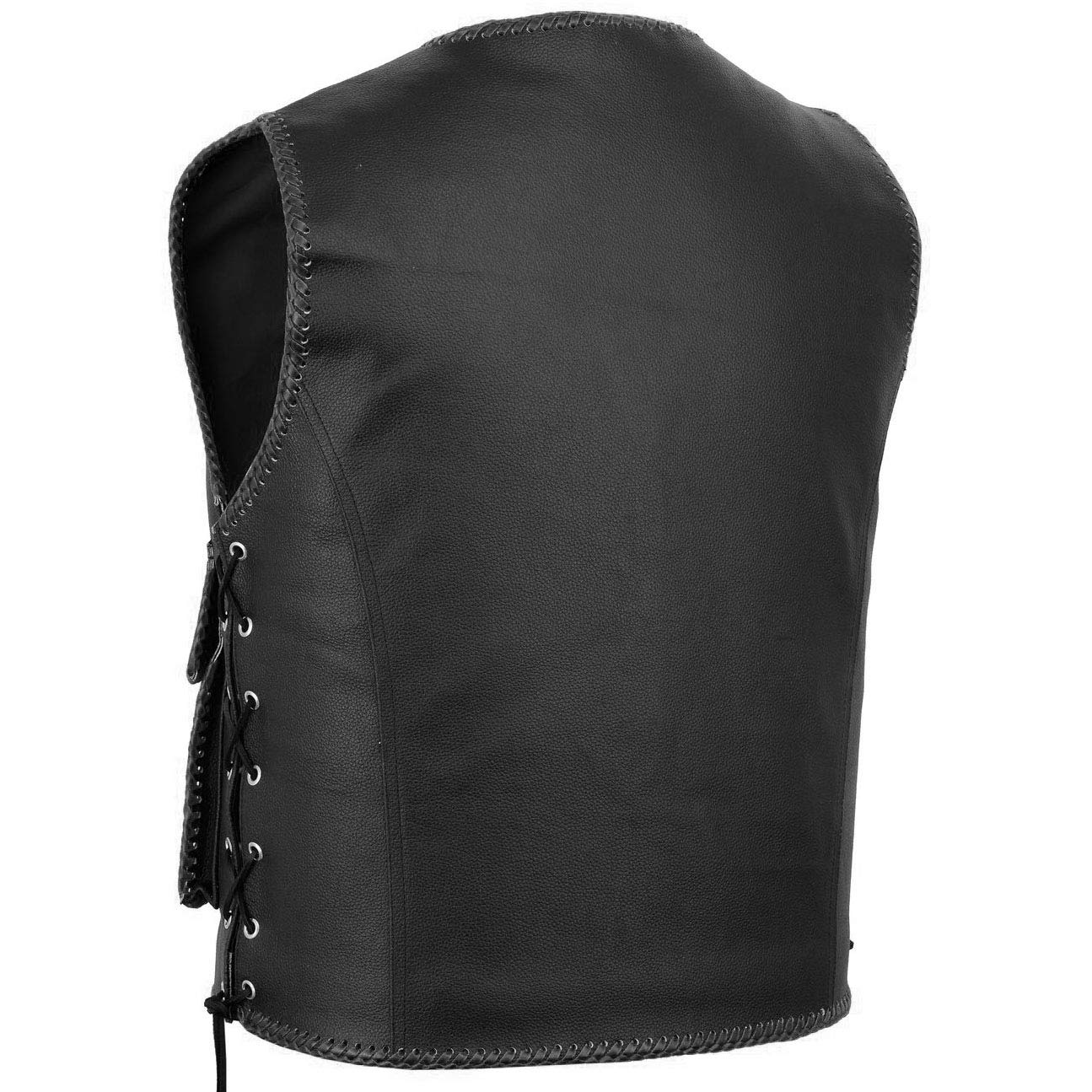 negro German Wear Chaleco de piel para moto