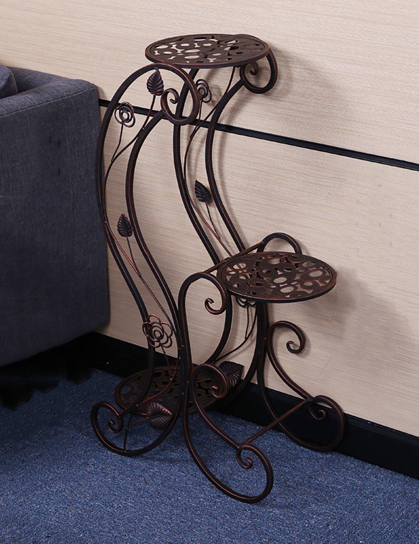 Europäische Art-Blumen-Zahnstange-Eisen-mehrgeschossiges Balkon-Versammlungs-Blumen-Zahnstange-Fußboden-Pflanzer-Regal-einfaches modernes Wohnzimmer-Innenblumen-Zahnstange ( farbe : B , größe : 45*24.5*81CM )