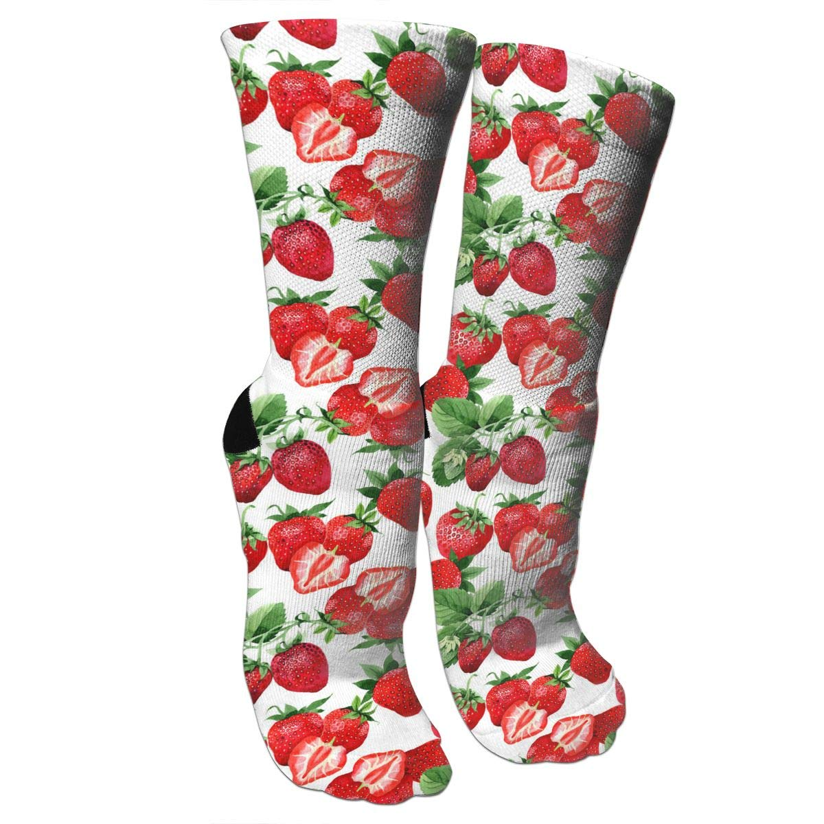 Watercolor Strawberry Pattern Crazy Socks Soft Breathable Casual Socks For Sports Athletic Running