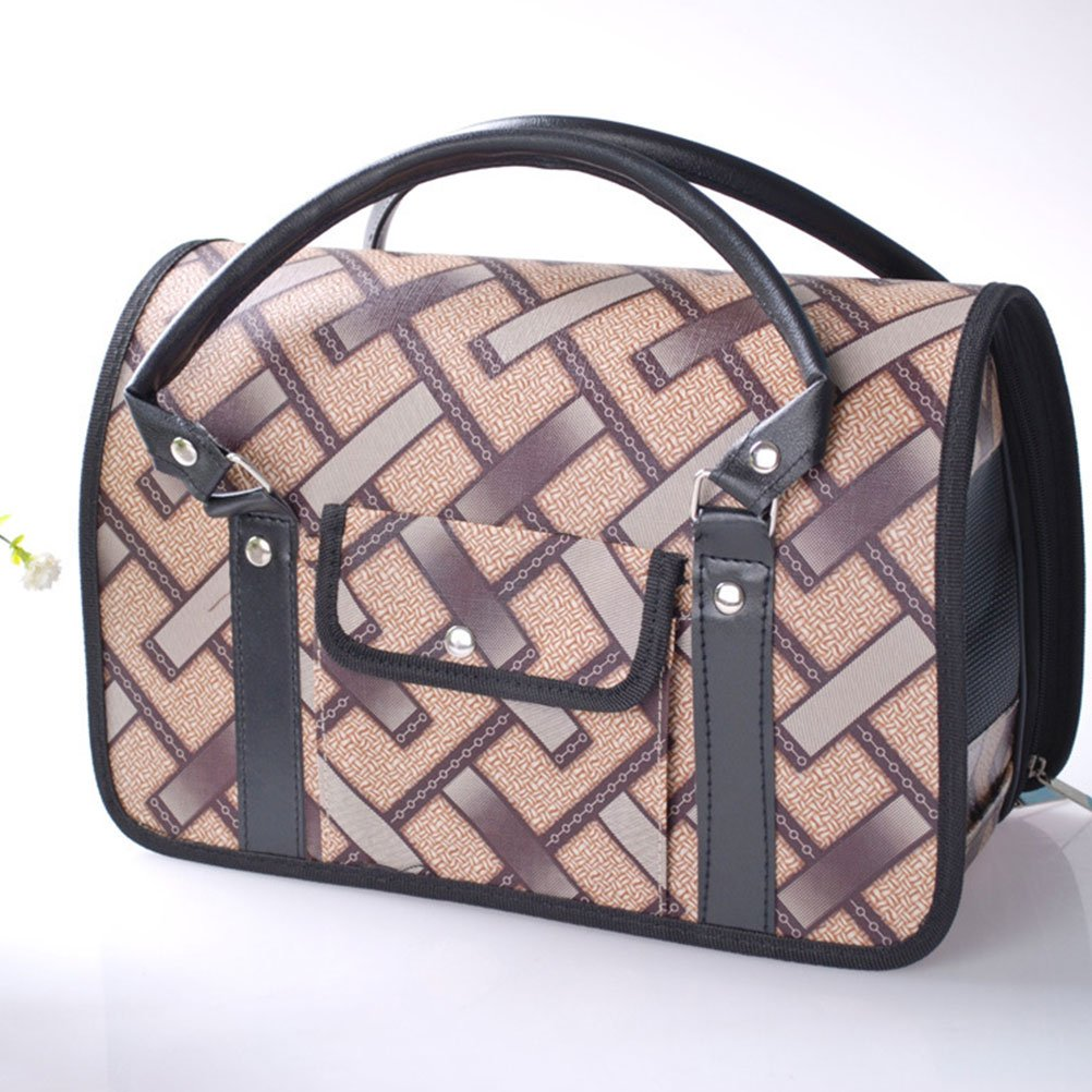 Beige M Beige M Zhuhaitf Pet Carrier Carry Cage Rabbit Foldable Travel PU Leather Carrier Bag with Top Handle and Pocket