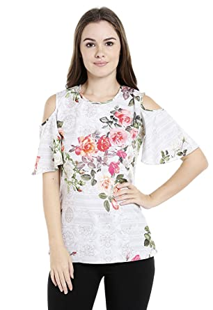 27e0c9a40a0 ishin Crepe White Printed Cold Shoulder Women's Western Wear Top:  Amazon.in: Clothing & Accessories