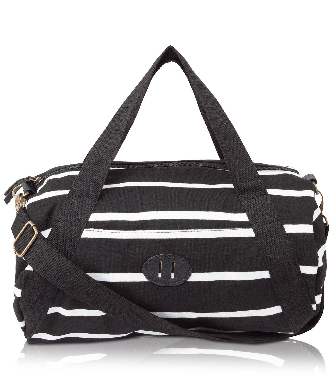 Madden Girl BDUFFLL Weekender Duffle Bag - Black/White